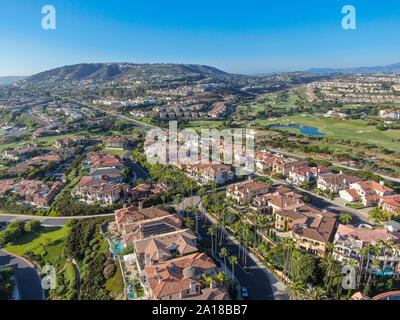 Aerial view of Monarch beach coastline. Small neighborhood in Orange County City of Dana Point. California, USA. Aerial view of wealthy villa and town - Stock Photo