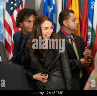 New York, NY - September 24, 2019: Prime Minister of New Zeland Jacinda Kate Laurell Ardern attends luncheon hosted by Secretary-General during 74th General Assembly at UN Headquarters - Stock Photo