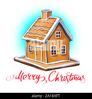 Christmas gingerbread house, Decorative Christmas ornament, art illustration painted with watercolors isolated on white background. - Stock Photo