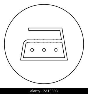 Ironing is allowed high temperature to two hundred 200 degrees Clothes care symbols Washing concept Laundry sign icon in circle round outline black - Stock Photo
