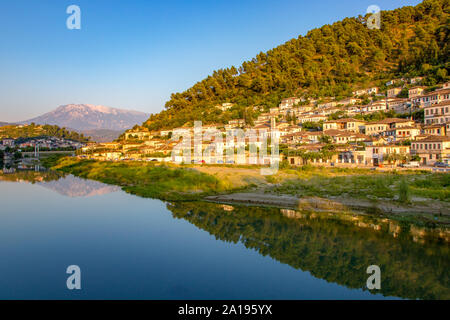 Reflection at the old ottoman bridge in historic Old Town Berat, UNESCO World Heritage Site Albania
