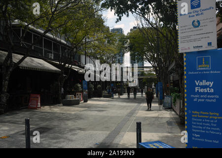 Fortitude Valley, Brisbane, Australia: Brunswick Street Mall at Ann Street - Stock Photo