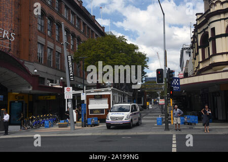 Fortitude Valley, Brisbane, Australia: Brunswick Street Mall at Wickham Street. - Stock Photo