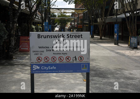 Fortitude Valley, Brisbane, Australia: Brunswick Street Mall sign - Stock Photo