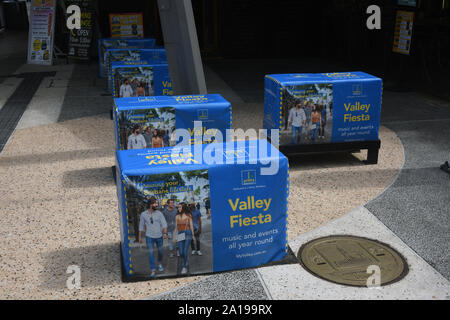 Fortitude Valley, Brisbane, Australia: Security bollards in the Brunswick Street Mall - Stock Photo