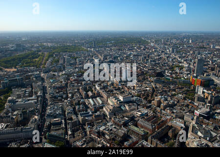 Looking across Soho and the West End with the British Museum and Centre Point with Charing Cross. - Stock Photo