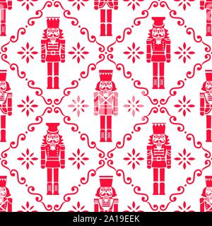 Christmas nutcrackers vector seamless pattern - Xmas soldier figurine repetitive red and white ornament, textile design - Stock Photo