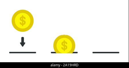 Vector icon set of dollar coin and moneybox. Flat color style. - Stock Photo