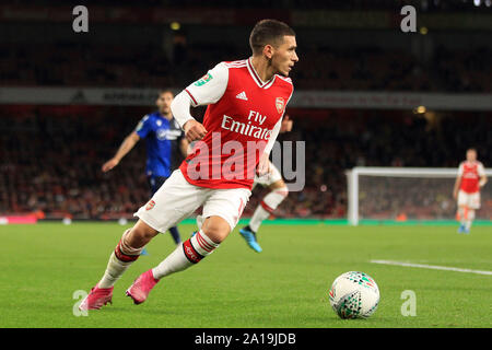London, UK. 24th Sep, 2019. Lucas Torreira of Arsenal in action. Carabao Cup, EFL Cup 3rd round match, Arsenal v Nottingham Forest at the Emirates Stadium in London on Tuesday 24th September 2019. this image may only be used for Editorial purposes. Editorial use only, license required for commercial use. No use in betting, games or a single club/league/player publications . pic by Steffan Bowen/Andrew Orchard sports photography/Alamy Live news Credit: Andrew Orchard sports photography/Alamy Live News - Stock Photo