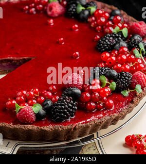 Fruit cheesecake with berries - Stock Photo
