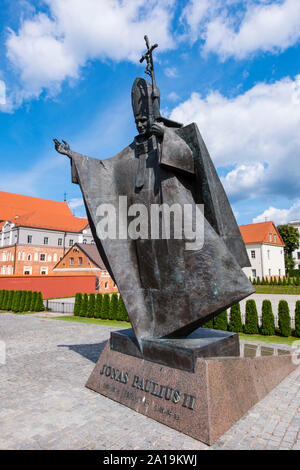 Statue of Pope John Paul II, Pope Hill, Santaka Park, Kaunas, Lithuania - Stock Photo