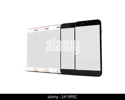 Concept of mobile phones with white screen 3d rendering on white background with shadow - Stock Photo