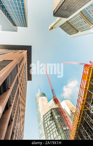 building operations in frankfurt´s financial district, japan center, maintower, commerzbank tower and taunus tower - Stock Photo