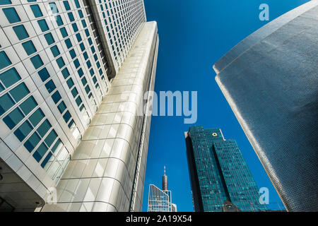 downtown frankfurt, silver tower,  gallileo tower,(commerzbank ), maintower - Stock Photo