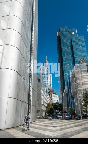 downtown frankfurt, silver tower, gallileo tower,(commerzbank ), maintower, - Stock Photo
