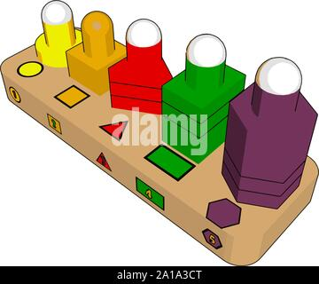 Various forms toys, illustration, vector on white background. - Stock Photo