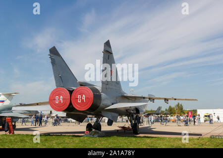 30 AUGUST 2019 MOSCOW, RUSSIA: An outdoors airplane exposition - Russian Aerospace Forces - MiG-31. Mid shot - Stock Photo
