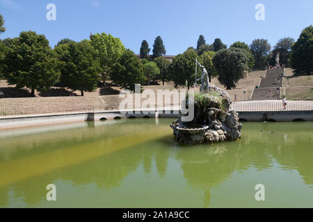 The Fountain of Neptune is a fountain in the Boboli Gardens,  Florence, Italy, situated on the Piazza della Signoria, in front of the Palazzo Vecchio. - Stock Photo