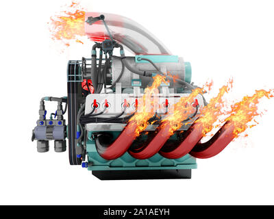 Modern powerful internal combustion engine with flame emissions side view 3d render on white background no shadow - Stock Photo