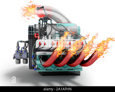 Modern powerful internal combustion engine with flame emissions side view 3d render on white background with shadow - Stock Photo