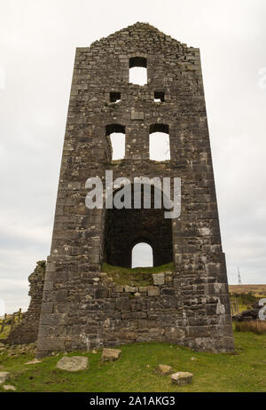 Bellingshams Shaft Engine House of the Wheal Jenkin mine on Caradon Hill, Minions,m Cornwall - Stock Photo