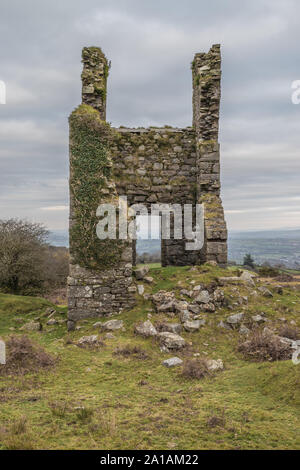 Stamps Engine House of the Wheal Jenkin mine on Caradon Hill, Minions, Cornwall - Stock Photo