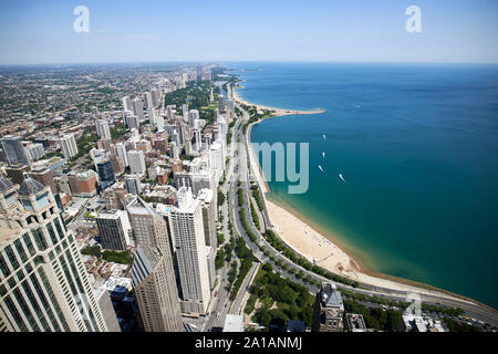 view over gold coast and north along lake shore drive seen through the windows of the john hancock center chicago illinois united states of america - Stock Photo