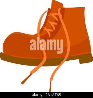 Orange boot, illustration, vector on white background. - Stock Photo