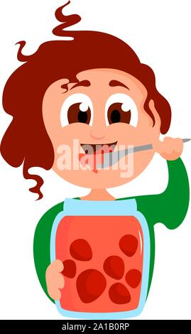 Girl with jam, illustration, vector on white background. - Stock Photo