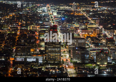 Glendale, California, USA - September 22, 2019:  Night view of Brand Blvd and downtown Glendale buildings near Los Angeles. - Stock Photo
