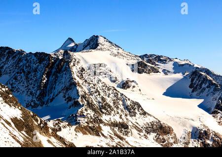 Alps ski resort. Austria, Stubai, Stubaier Gletscher. High rocky mountain landscape. Beautiful scenic view of mount. - Stock Photo