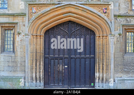 entrance to St John's college Oxford university from St Giles' showing the college the royal coat of arms of James 1st of England or 6th of Scotland