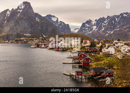 spring landscape of Reine villag and surrounding area, inside Lofoten Islands, Norway - Stock Photo