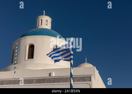 Panagia Platsani. blue domes of churches in Oia, Santorini - Stock Photo