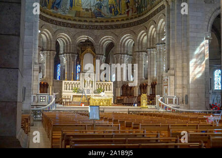 'Inside The Basilica'-Sacred Heart or Sacre-Coeur Basilica in Montmarte, Paris is an iconic french Roman catholic church beautiful inside and outside. - Stock Photo