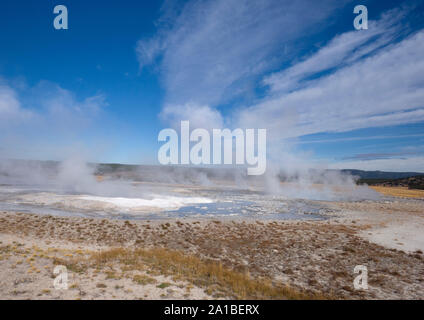 Hot springs steaming, Midway Geyser Basin, Yellowstone National Park, Wyoming, USA