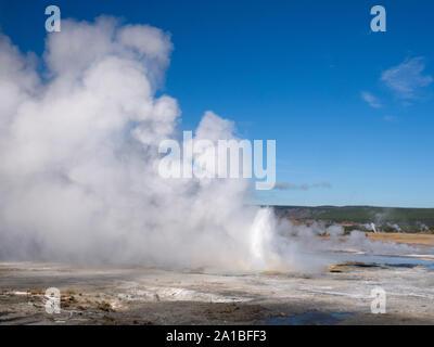 Hot springs erupting, Midway Geyser Basin, Yellowstone National Park, Wyoming, USA