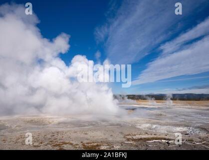 Hot springs erupting, Midway Geyser Basin, Yellowstone National Park, Wyoming, USA Stock Photo