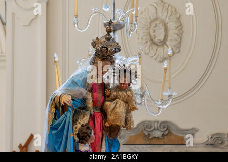 Statue of Virgin Mary from inside the Amalfi Cathedral, Piazza del Duomo, Italy - Stock Photo
