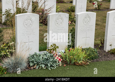 Essex Farm WWI Cemetery on the Belgium Salient near Ypres where Rif VJ Srudwick is buried, at 15 the youngest combatant of the war killed in action - Stock Photo