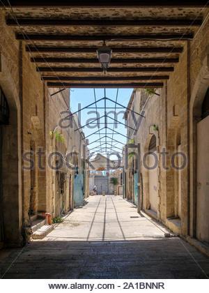 Israel, Tel Aviv District, Tel Aviv-Yafo. Alleyway in Jaffa old town. - Stock Photo
