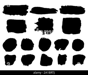 Vector set of black paint, ink strokes, brushes, lines, stains isolated on white background - Stock Photo