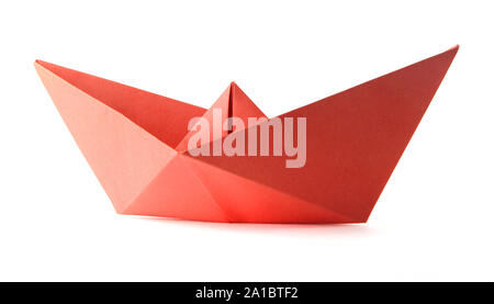 Origami red boat - Stock Photo