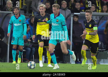 Marco Reus , Julian Brandt  in Borussia Dortmund and Frenkie De Jong in FC Barcelone during the UEFA Champions League, Group F football match between Borussia Dortmund and FC Barcelona on September 17, 2019 at BVB Stadion in Dortmund, Germany - Photo Laurent Lairys / MAXPPP - Stock Photo