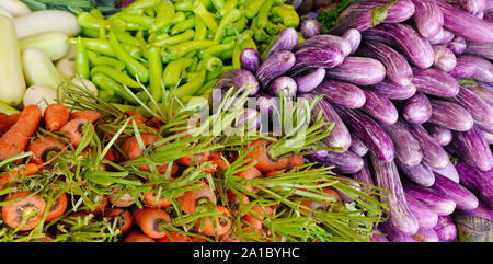 Fresh and organic vegetables at farmers market. Street trade in Sri Lanka. Healthy food. Wide photo. - Stock Photo