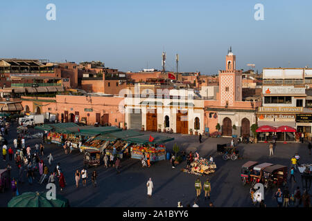 The famous Jamaa el Fna square in Marrakech, Morocco. Jemaa el-Fnaa, Djema el-Fna or Djemaa el-Fnaa is a famous square and market place in Marrakesh's - Stock Photo