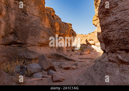Hiking in the White Owl Canyon of Lake Mead National Recreation Area at Nevada - Stock Photo