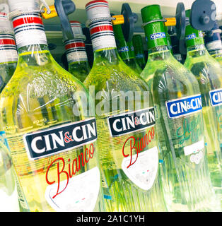Moscow, Russia - September 23, 2019: alcohol drinks stands on supermarket shelf, the Cinzano - Stock Photo