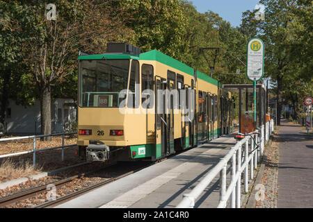 Die Straßenbahn Schöneiche bei Berlin ist eine Überlandstraßenbahn östlich in und von Berlin. sie führt vom S-Bahnhof Berlin-Friedrichshagen über Schö - Stock Photo