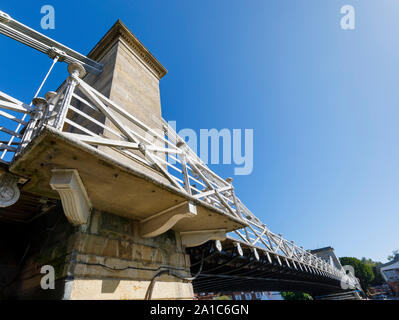 View of the north tower of the Marlow suspension bridge crossing the River Thames in the Wycombe district of Buckinghamshire, southeast England - Stock Photo